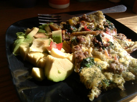 Beef and Veggie Frittata with avocado